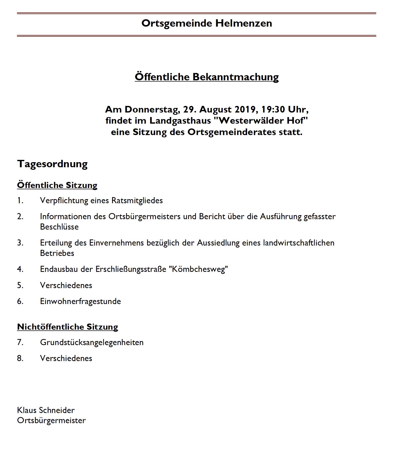 Sitzung des Ortsgemeinderats am 29. August 2019 @ Landgasthaus Westerwälder Hof | Helmenzen | Rheinland-Pfalz | Deutschland