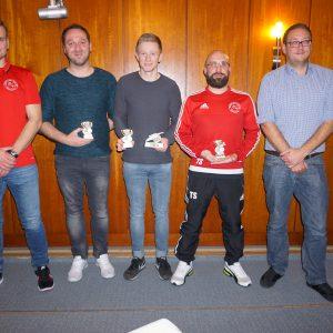 Ehrung Fussball: Robin Schürdt, Pierre Schürdt, Lukas Marenbach, Thomas Stadler, Timo Herrmann