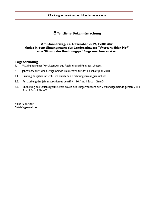 Sitzung des Rechnungsprüfungsausschusses @ Landgasthaus Westerwälder Hof