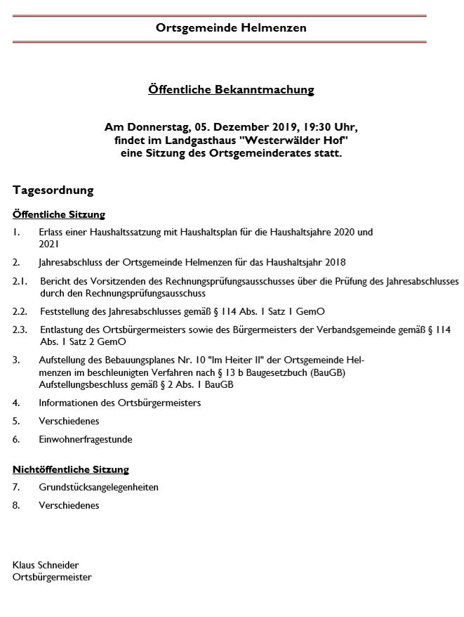 Sitzung des Ortsgemeinderates @ Landgasthaus Westerwälder Hof