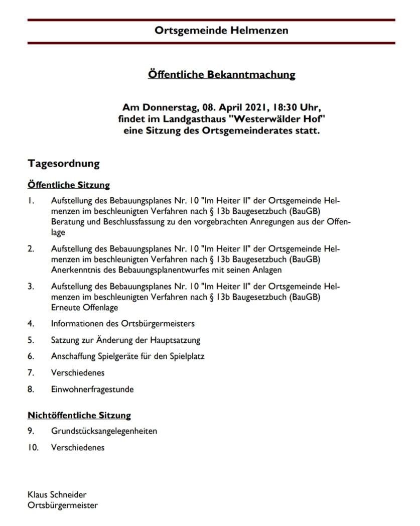 Sitzung des Ortsgemeinderats @ Landgasthaus Westerwälder Hof